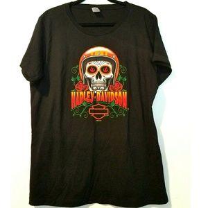 1X Harley-Davidson Black Grsphic Tee - Skull Texas